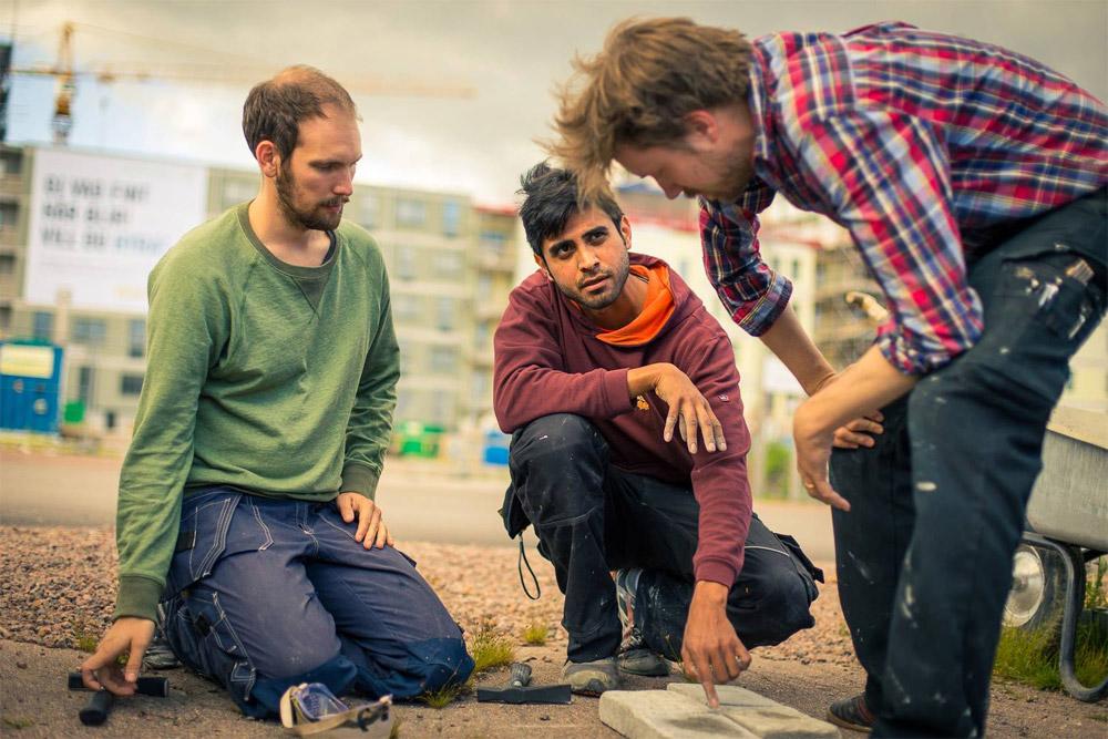 Peter, David och Erik diskuterar